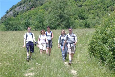 Walkers on guided walking holiday in Tarn Aveyron guided walking south France Europe