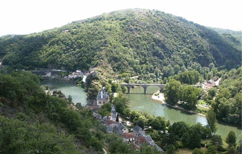 Historic town and villages on guided walking holiday Tarn Aveyron in midi pyrenees south France