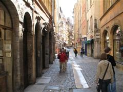 Narrow cobbled streets in Old Lyon France