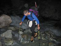 walking poles are great for stability when walking through difficult terrain like crossing a stream