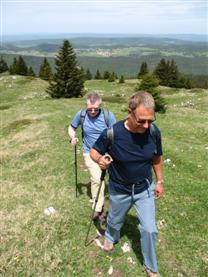 Using one walking pole is better than none such as on this guided walking holiday in Jura, France