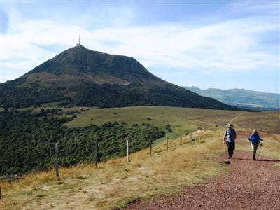 Puy de dome from Puy Pariou Auvergne guided walking holiday France