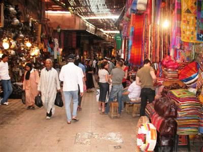 Souks markets Marrakech Morocco trek city guided trekking holiday tour