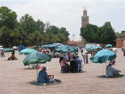Jemaa el fna and Koutoubia mosque Marrakech Morocco high atlas guided trekking walking holidays and tours
