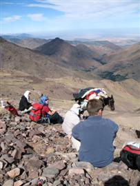 taking a rest on guided trekking walking holiday Toubkal high atlas morocco
