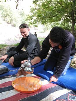 Mint tea jbel Toubkal trek High Atlas Morocco Africa guided trekking tour