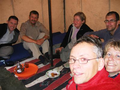 Mint tea and biscuits on arrival at the camp site at the end of day 1 in the Toubkal massif