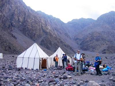camp by lac d'ifni whilst trekking in High Atlas