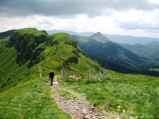 ridge walking near Puy Mary Cantal Auvergne France independent waking holiday