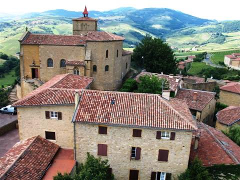 Oingt village in the Beaujolais hills of France self catering independent walking holiday