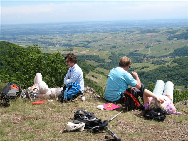 Hills and ridges Perreonp Beaujolais guided walking France