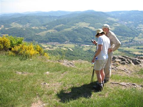 self catering walking holiday, view from Croix de Rochefort in high Beaujolais hills of France