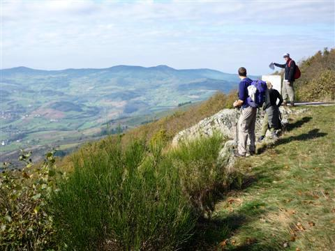 Independent walking holiday in the Beaujolais, France with picture of hills