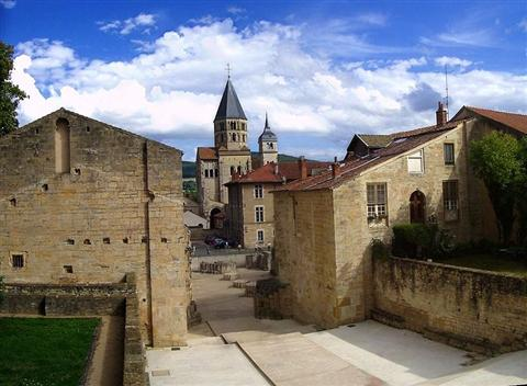 historic centre of cluny in burgundy on hiking holiday