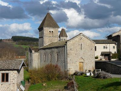 Independent walking holiday church at Avenas in haut beaujolais hills France