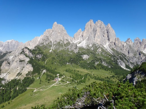 self guided walking dolomites europe mountain peaks alpine pasture