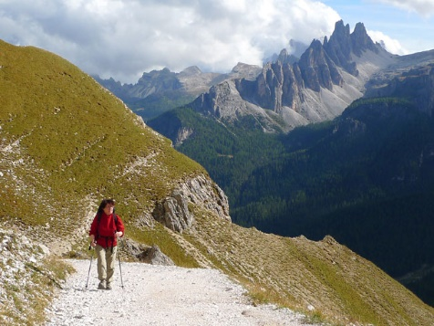 walker in dolomite mountains italian alps