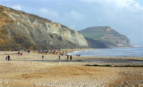 beach near charmouth with golden cap highest cliff English coast walking holiday UK