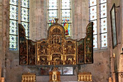 altarpiece at the abbey at Baumes les Messieurs