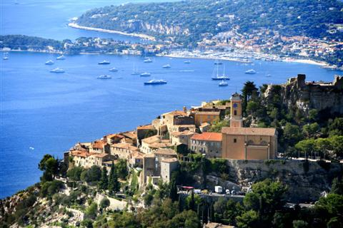 view of village and med on independent walks France Europe