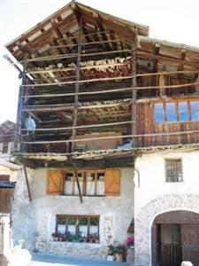 local architecture of St veran in Queyras with hay lofts built from Larch