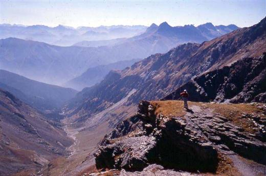 Views near Italy France border on the alpine peak bagging guided trekking holiday with five, 3000m summits