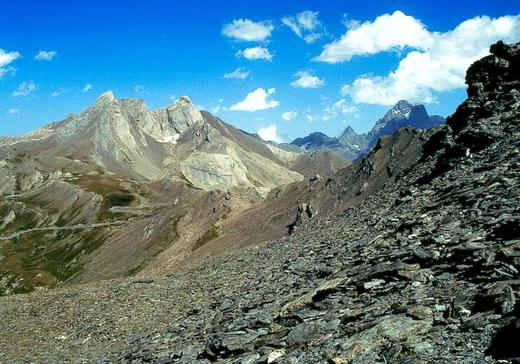 View towards mont Viso and Pain de Sucre in Queyras in French Alps on trekking holiday