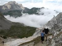 walking to petit mont blanc in Vanoise, French Alps on independent walking holiday