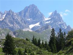 Alpine mountains in French Alps on self guided trekking holiday
