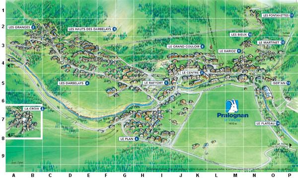 map of ski resort of pralognan la vanoise close to 3 valleys for great skiing