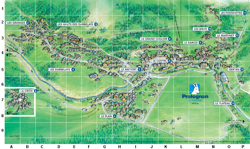 map of Pralognant in Vanoise, Savoie, France