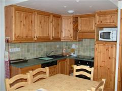 kitchen in self catering rental property in Pralognan in French Alps for walking and skiing holidays