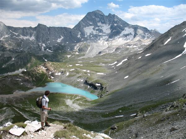 Views over lac blanc in Vanoise, Savoie, France in Alps on walking tour