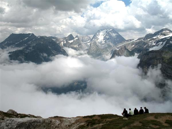self guided walking with view of Grande Casse from petit Mont Blanc in Vanoise region of French Alps
